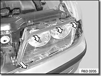 Removing and installing/replacing lens cover for headlight