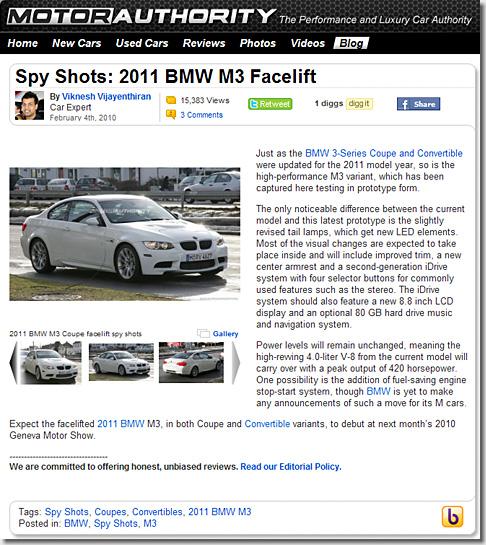 2011 BMW M3 Facelift