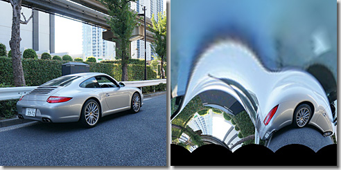 OpenCV, Log-Polar Transform, Porsche 911 Carrera S, Result degrees 00