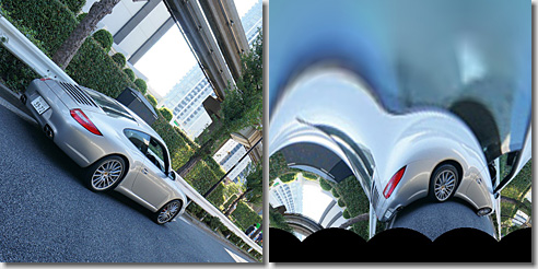 OpenCV, Log-Polar Transform, Porsche 911 Carrera S, Result degrees 45