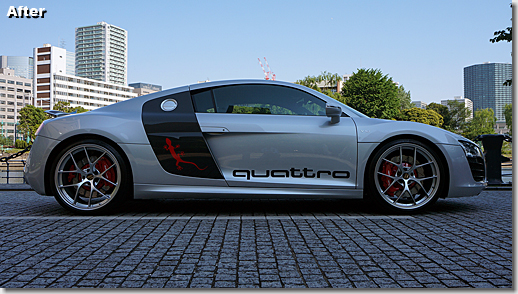 Audi R8 Quattro Carbon Side Logo, 3M Japan Car Wrapping Film