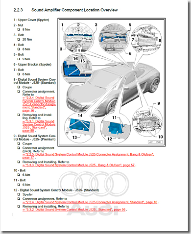 Audi R8, Sound Amplifier Component Location Overview