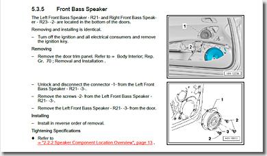 Audi R8, Front Bass Speaker